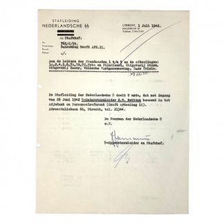 Original WWII Dutch SS document