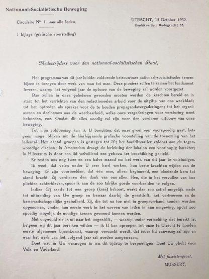 Original WWII Dutch NSB document Anton Mussert 1932