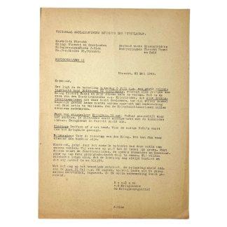 Original WWII Dutch NSB document - Peddling tour to Bilthoven