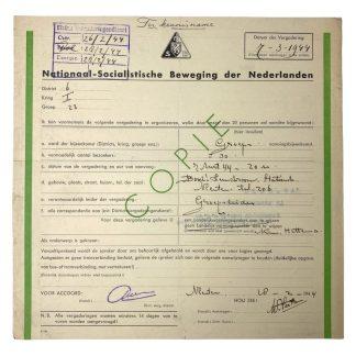 Original WWII Dutch NSB document Vleuten