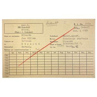 Original WWII Dutch SS member administration card Utrecht