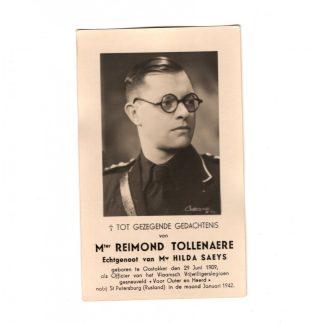 Original WWII Flemish Waffen-SS volunteer legion Reimond Tollenaere death card