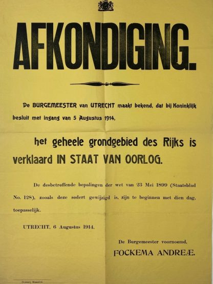 Original WWI Dutch poster 'State of War'
